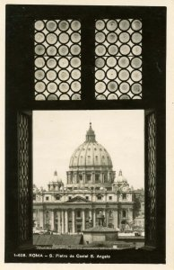 Italy - Rome.   St Peter's from Castle of St Angelo    RPPC
