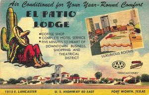 Fort Worth TX El Patio Lodge Motel Duo-View 1949 Postcard