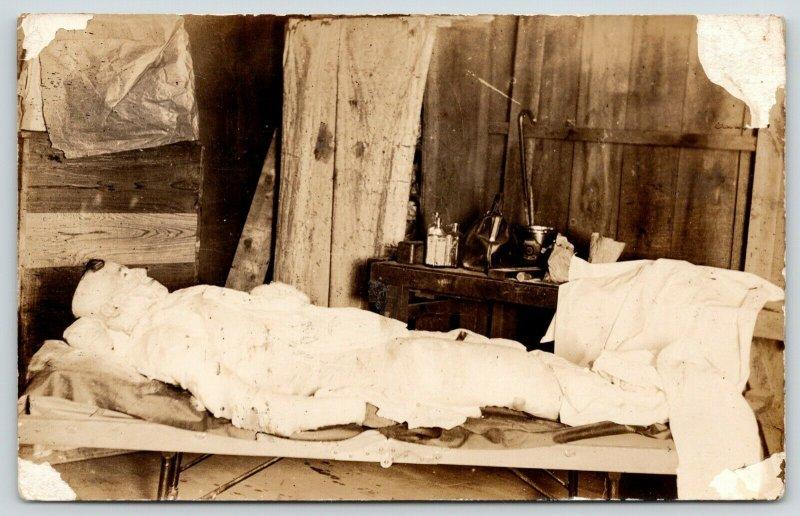 Coal Mine Disaster~Horribly Injured Miner~Shack~Doctor Bag~Medicine~c1920s RPPC