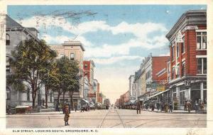 Greensboro North Carolina Elm Street Scene Antique Postcard K46767