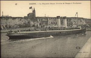 Dieppe France Steamship Paquebot Steamer Ship ROUEN c1915 Postcard #1