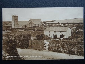 Cornwall NEWQUAY Crantock Church & Cottages - Old Postcard by Hartnoll