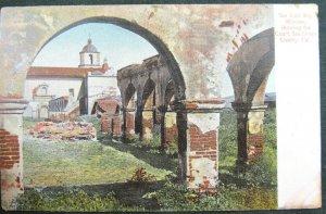 SAN DIEGO, CA  San Luis Rey Mission Courtyard California County Vintage Postcard