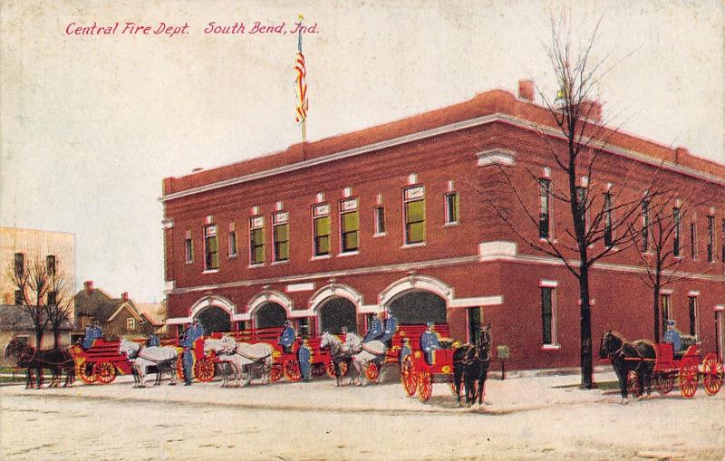 South Bend Indiana~Central Fire Department~Station~Horse Wagons~Firemen~1910 PC