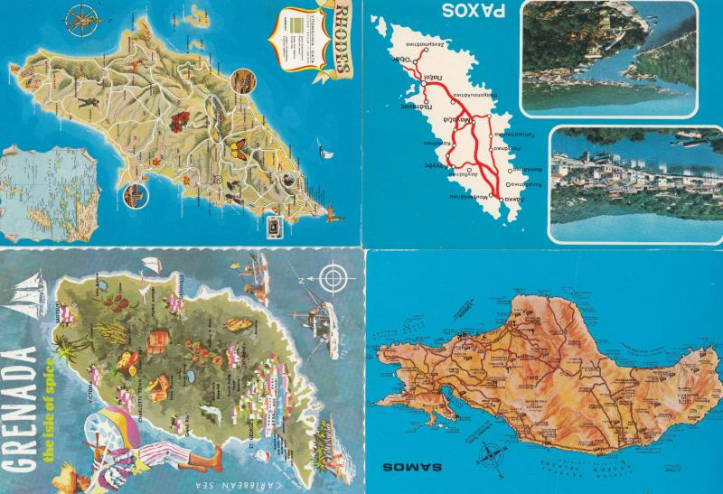 Paxos Grenada Samos Rhodes 4x Greece Map Postcard s