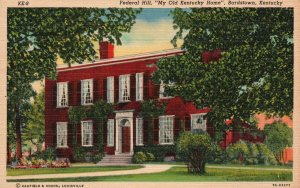 Vintage Postcard 1930's Federal Hill My Old Kentucky Home Bardstown KY