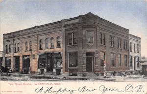 Westfield Wisconsin~Bank Block~Basement Barber Shop~Groceries~Dentist~1906 PC