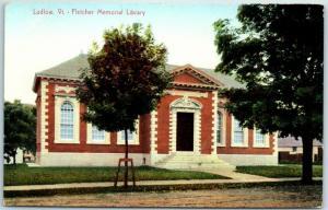 Ludlow, Vermont Postcard Fletcher Memorial Library Building Front View c1910s