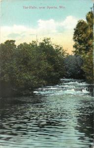 Sparta Wisconsin~Rippling Tar Falls on River~1909 Postcard