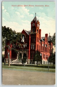 Owatonna Minnesota~Steele County Courthouse~Clock Tower~c1910 Postcard