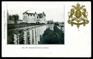 5214 - QUEBEC CITY Postcard 1900s Chateau Frontenac. Patriotic Crest Heraldic