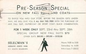 CHICAGO IL SELECMAN'S MENS CLOTHING STORE~PRE SEASON ADVERTISING POSTCARD 1963