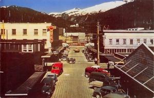 Ketchikan Alaska~Ingersol Hotel~Downtown~1940-50s Cars~Trucks~1950s Postcard