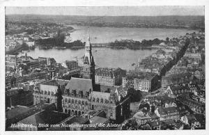 Hamburg Blick vom Nicolaiturm auf die Alster Cathedral Tower General view Bridge