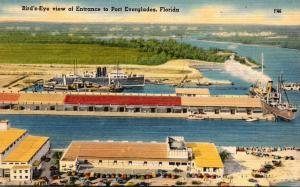 Florida Fort Lauderdale Port Everglades Birds Eye View Of Entrance 1948