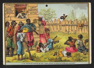 VICTORIAN TRADE CARD Clarence Brooks Varnishes Blacks 'Jist Watch De Captain..'