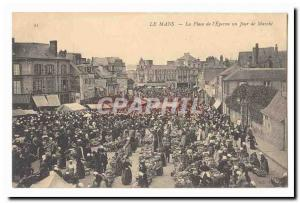 Le Mans Old Postcard Place of & # 39Eperon a day walking TOP