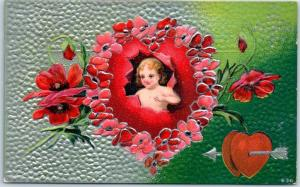 Vintage VALENTINE'S DAY Postcard Cupid Angel / Red Heart & Flowers c1910s