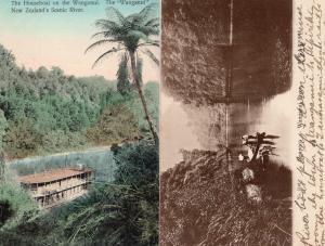 River Boats on Ngaporo Wanganui 2x Rare Old New Zealand Postcard