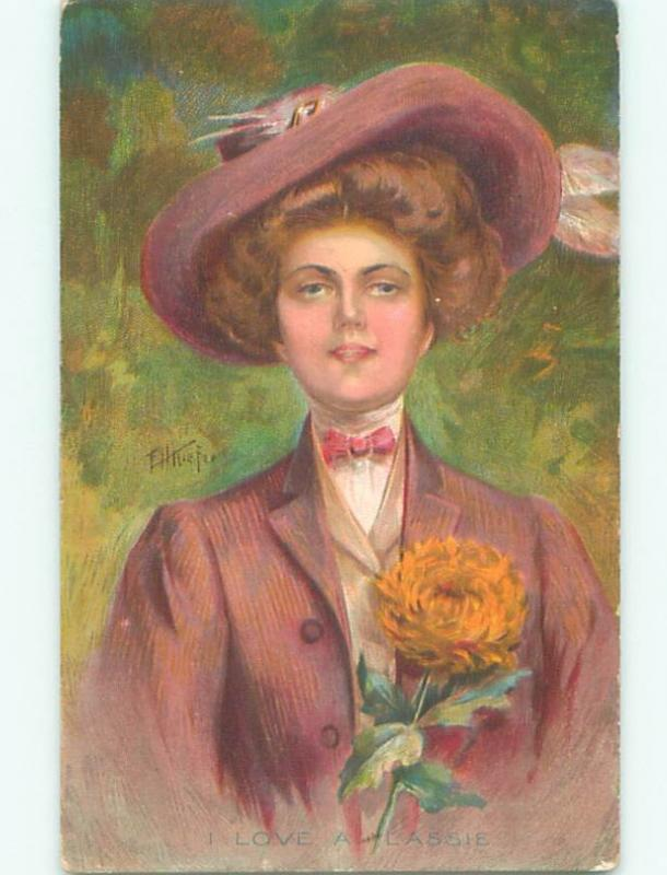Pre-Linen signed KIEFER - PRETTY WOMAN WEARING BIG HAT AB7704
