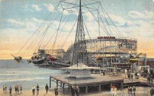 Long Beach California birds eye view pier carnival vintage pc DD5727