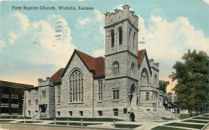 Wichita Kansas~First Baptist Church~Neighborhood Homes~1915 Postcard