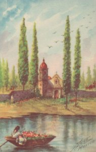 Xochimilco Boat Trip Mexican Antique Painting Postcard