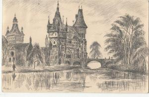 Hungary Budapest Castle Vajdahunyad drawn postcard artist Elesdy I.