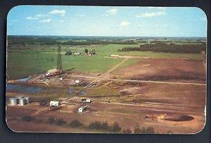 Edmonton, Alberta, Canada Postcard, Bird's Eye View Of Oil Scene & Rig