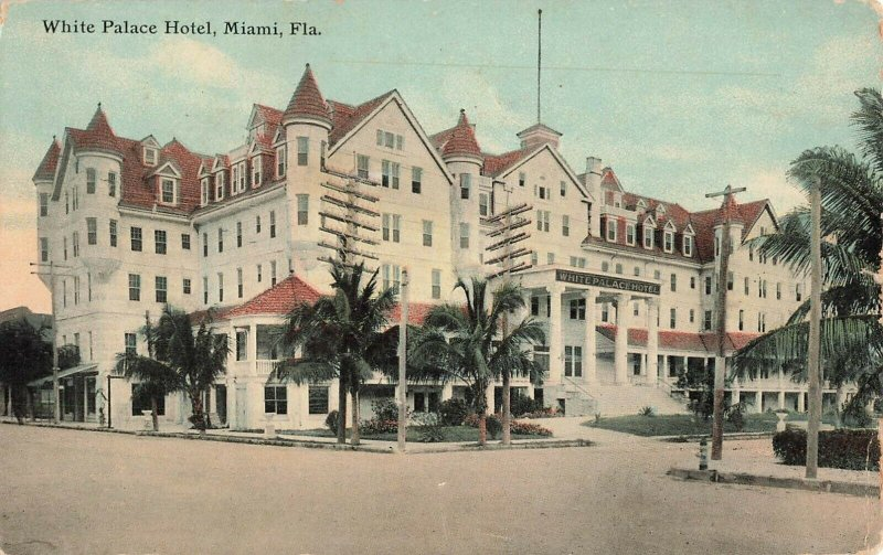 Postcard White Palace Hotel, Miami, Florida ME8.