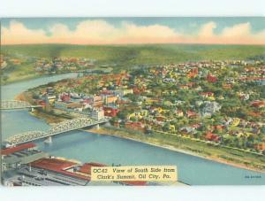 Unused Linen AERIAL VIEW OF TOWN Oil City Pennsylvania PA n3667