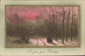 Greetings winter landscape scene sunset
