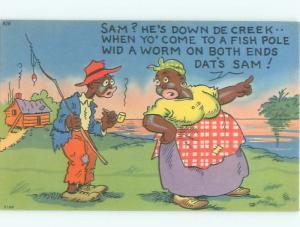 1950's Black Americana FISHING SCENE AC0233
