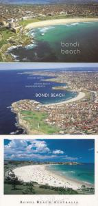 Bondi Beach incl Map 3x Australian Postcard s