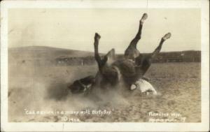 Cowboy Rodeo Cad O'Brien Horse Dirty Sox Rawlins WY Used 1927 RPPC