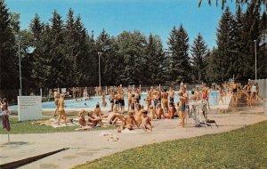 New London WI~Hatten Park~Kids Crowd Swimming Pool~Empty Lifeguard Chair~1960s