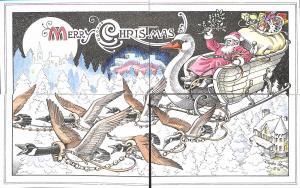 Flying Rabbit Merry Christmas by Charles Hazard Installment 4 Postcards