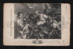 057981 18 Century ORGY Faun & GOAT vintage Engraving