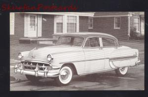 1954 CHEVROLET BEL AIR CHEVY 4 DOOR VINTAGE CAR DEALER ADVERTISING POSTCARD
