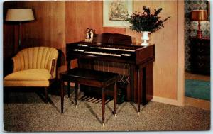 CLINTON, NJ  Advertising EVA'S PIANO STUDIO New Conn MINUET ORGAN 1960s Postcard
