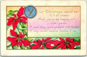 1909 Whitney CHRISTMAS Embossed Postcard Your Christmas Would Be Full of Cheer