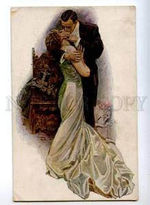 161133 KISS of Lovers by Harrison FISHER Vintage M.J.S. PC