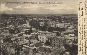 Christchurch New Zealand From Cathedral Square c1910 Postcard