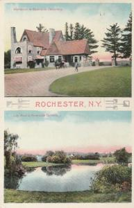 Riverside Cemetery NY Rochester New York - Entrance and Lily Pond - pm 1909 - DB