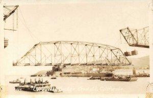 RPPC CARQUINEZ BRIDGE Crockett, CA Construction Scene ca 1930s Vintage Postcard