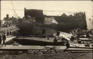 Tyler MN Post Office Corner After Tornado 1918 Aug 21 Real Photo Postcard