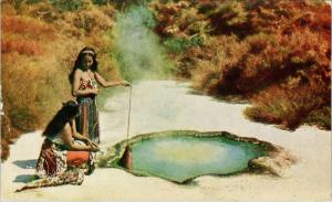 Hot Pool Cooking NZ New Zealand Women Unused Postcard E40 *As Is