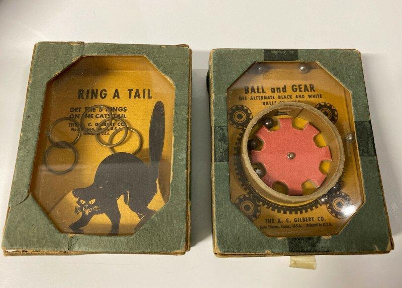 1920s A C Gilbert Ring A Tail Black Cat Ball & Gear Hand Held Dexterity Game Lot