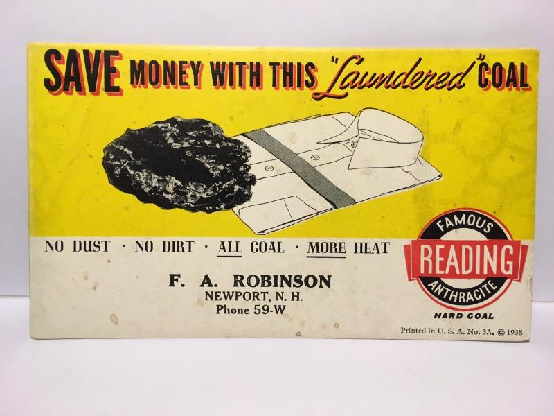 Vintage Reading PA Anthracite Laundered Coal Blotter For Newport NH From 1938