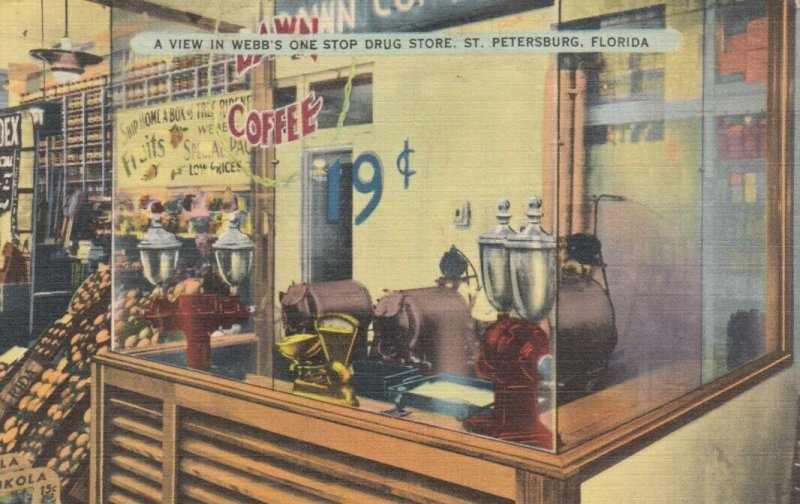 ST. PETERSBURG, Florida, 1930-40s; A View in Webb's One Stop Drug Store